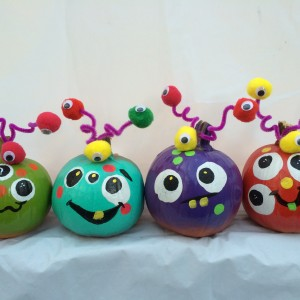 painted, painted pumpkins, novelty, eyeballs, eye see you, ICU, pom poms