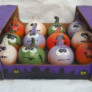 painted pumpkin, pumpkin, cutie pie, frankenstein, jack-o-lantern, skeleton, ghost, cute but scary